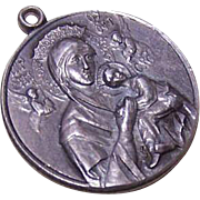 Vintage STERLING SILVER Religious Medal - Our Lady of Perpetual Help - Saint Gerard