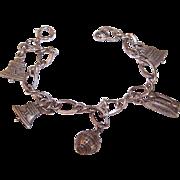 Vintage STERLING SILVER Charm Bracelet - 5 Attendance Award Charms