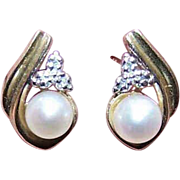 Vintage 10K Gold Earrings - Cultured Pearl & Diamond Accent