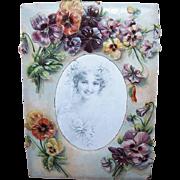 ANTIQUE VICTORIAN Cardboard Frame - Lots of Pansies