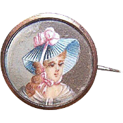 ANTIQUE EDWARDIAN 9K Gold Pin - Hand Painted Portrait Miniature of a Lady