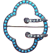 ANTIQUE VICTORIAN Sterling Silver Pin - Buckle, Glass Turquoise, Rhinestone Paste