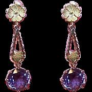 ART DECO 14K Gold Earrings - 9.25 CT TW Alexandrite, Drop Earrings