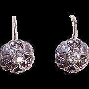 ART DECO 10K Gold Earrings - 800/900 Silver, Glass Paste, Hearts