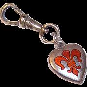 Vintage STERLING SILVER Puffy Heart Charm - Fleur de Lis, Orange, Enamel