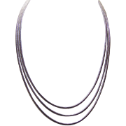 "Retro Modern STERLING SILVER Chain - Triple Strand, 15-1/2"", Snake Chain"