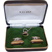 Vintage 14K Gold Cufflink Set - Diamond Accents, Tie Pin, Cufflinks, Original Box