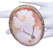 Huge ART DECO Cameo Pin - 14K Gold, Cornelian Shell, Lady Wearing Diamond Necklace