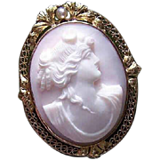 Vintage 14K Gold Cameo Pin - Pink Shell, Natural Pearl, Lovely Lady, Pendant