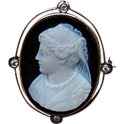 ANTIQUE EDWARDIAN 18K Gold Pin - Cameo, Hardstone Agate, Sardonyx, Diamonds, Lady, Pendant