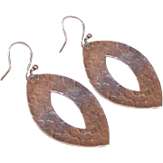 Vintage STERLING SILVER Earrings - Hand Hammered, Drops, Pierced