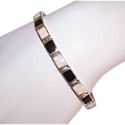 Vintage STERLING SILVER Bracelet - Opal, Black Onyx, Link, With Safety Chain