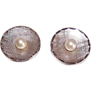 Vintage STERLING SILVER Cufflinks - Round, Cultured Pearls