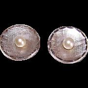 Vintage STERLING SILVER Cufflinks - Round, Cultured Pearls
