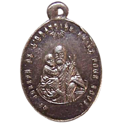 Vintage FRENCH SILVERPLATE Religious Medal - Saint Joseph Holding the Infant Jesus