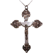 French ANTIQUE EDWARDIAN Crucifix - Mother of Pearl, 800/900 Silver, Rosary Cross