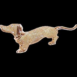 Vintage 14K GOLD Pin - Dachshund, Long Tail, Weiner Dog, Diamond Eye