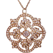 ANTIQUE VICTORIAN 14K Gold Pendant - .45CT TW Diamond, Natural Seed Pearls, Pin
