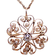 ANTIQUE VICTORIAN 14K Gold Pendant - .50CT Diamond, Natural Pearl, Pin, Hearts