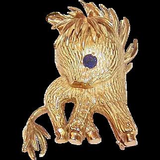 Vintage 18K Gold Pin - Donkey, Blue Sapphire, Figural, Estate, Brooch
