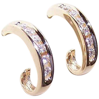 Vintage 14K Gold Earrings - .40CT TW, Diamond, Half Hoops, Pierced