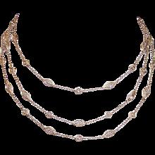 "Vintage 14K Gold Necklace and Bracelet Set - 1CT TW, Diamonds, 35"" Station Necklace, 10"" Station Bracelet"