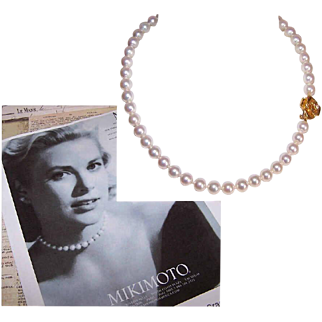 "MIKIMOTO Akoya Pearl Necklace - Princess Grace of Monaco, 16"", AA Grade, 24K Gold Clasp, Limited Edition"