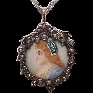 ANTIQUE EDWARDIAN Silver Pendant - 9K Gold, Natural Pearl, Portrait Miniature, Lady
