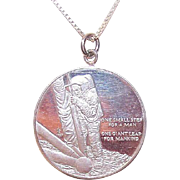 Vintage STERLING SILVER Medal - 1969 Moon Landing, Neil Armstrong, One Small Step