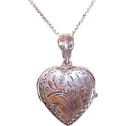 Vintage STERLING SILVER Locket - Engraved Top, Heart, 2 Photo Places