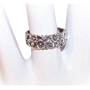Vintage STERLING SILVER Ring - Uncas, Floral, Cigar, Band, Repousse