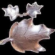 Vintage STERLING SILVER Set - Pin, Brooch, Earrings, Oak Leaf, NYE