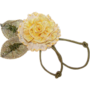 Vintage FRENCH Ribbonwork - Ribbon, Rose, Floral, Yellow, Chiffon, Green Ombre, Leaves
