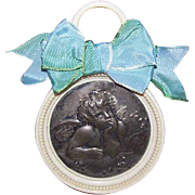 Art Deco FRENCH Crib Protector - Celluloid, Raphael, Cupid, Putti, Angel, Christening