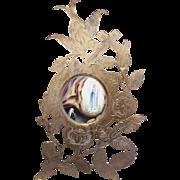 ANTIQUE VICTORIAN Gilt Brass Frame - Porcelain Plaque, Religious, Lourdes, France