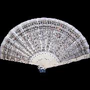 ANTIQUE EDWARDIAN Fan - Silver, Sequin, Tulle, Carved Bone