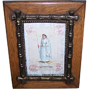 ANTIQUE VICTORIAN Frame - Wood, Brass Bamboo, First Communion, Pink, Girl