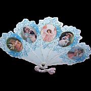 Pair Vintage OLD PRINT FACTORY Mini Fans - Blue, White, Victorian Images