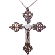 ANTIQUE VICTORIAN French Silver Crucifix - Mother of Pearl, Rosary, Religious, Cross