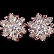 Vintage STERLING SILVER Earrings - Clear Rhinestone, Star, Retro Modern,  A&Z Sterling