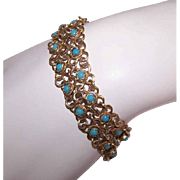 Vintage STERLING SILVER Bracelet - Vermeil, Gold Wash, Turquoise, Glass Bead, Greek