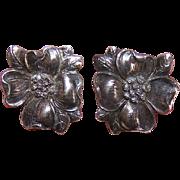 Vintage STERLING SILVER Earrings - Cini, Dogwood, Screwbacks