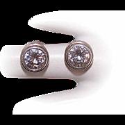 Vintage STERLING SILVER Earrings - Cubic Zirconia, CZ, Studs, Pierced, Posts