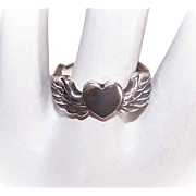 Vintage STERLING SILVER Ring - James Avery, Heart, Wings