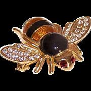 Vintage COSTUME Pin - Honey Bee, Gold Tone Metal, Enamel, Rhinestone