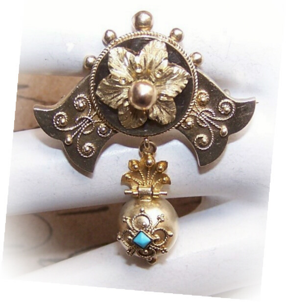 Beautiful ANTIQUE VICTORIAN 14K Gold & Turquoise Pin/Brooch!