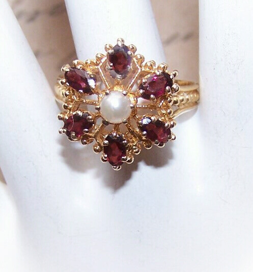 VICTORIAN REVIVAL 14K Gold, Garnet & Cultured Pearl Ring!