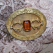 Stunning ANTIQUE EDWARDIAN Gilt Metal & Citrine Paste Pin/Brooch!