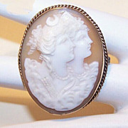 ANTIQUE VICTORIAN 10K Gold & Cornelian Shell Cameo Pin - Goddesses Artemis & Athena!