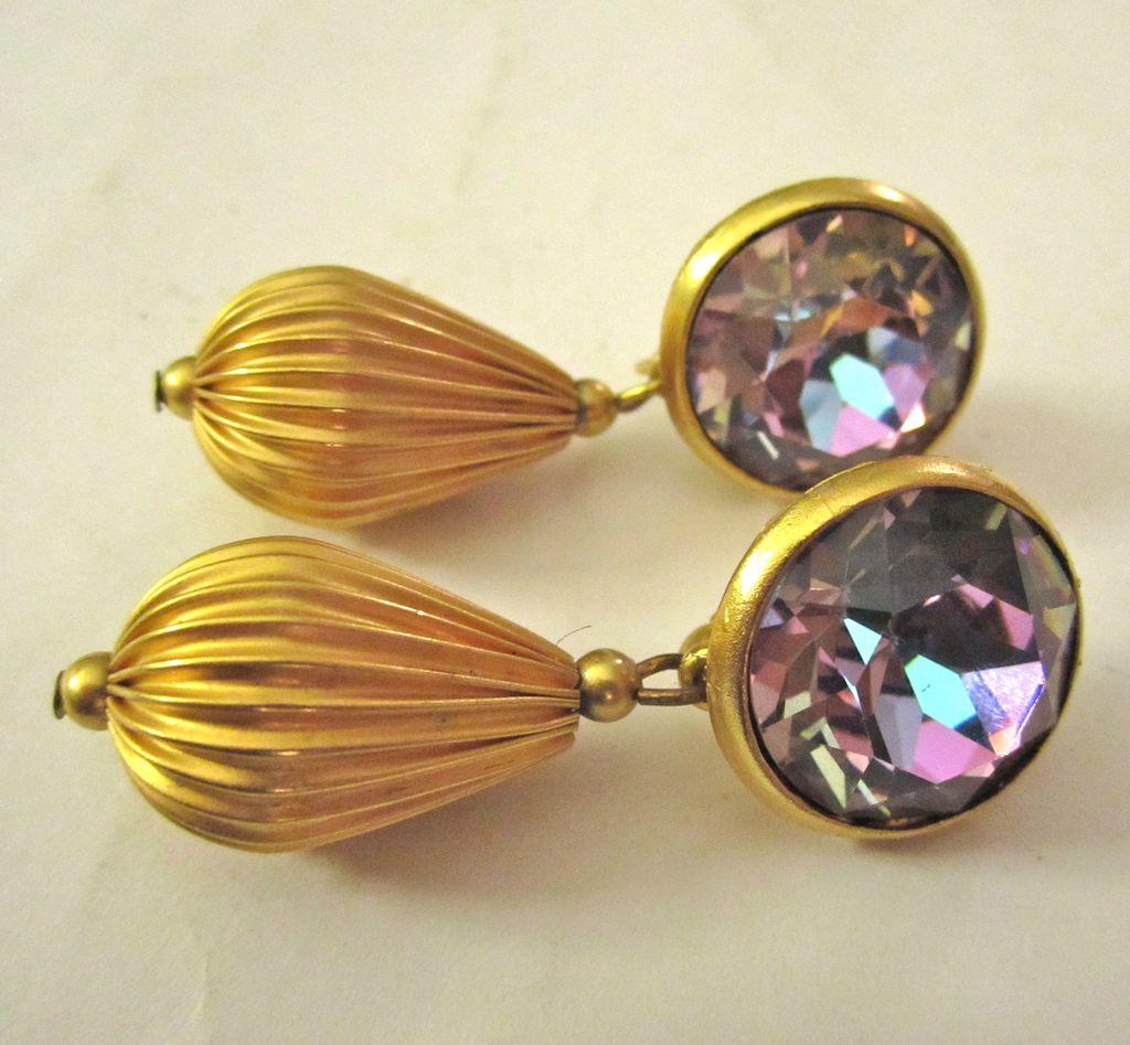 Dazzling Rhinestone Clip Dangle Earrings